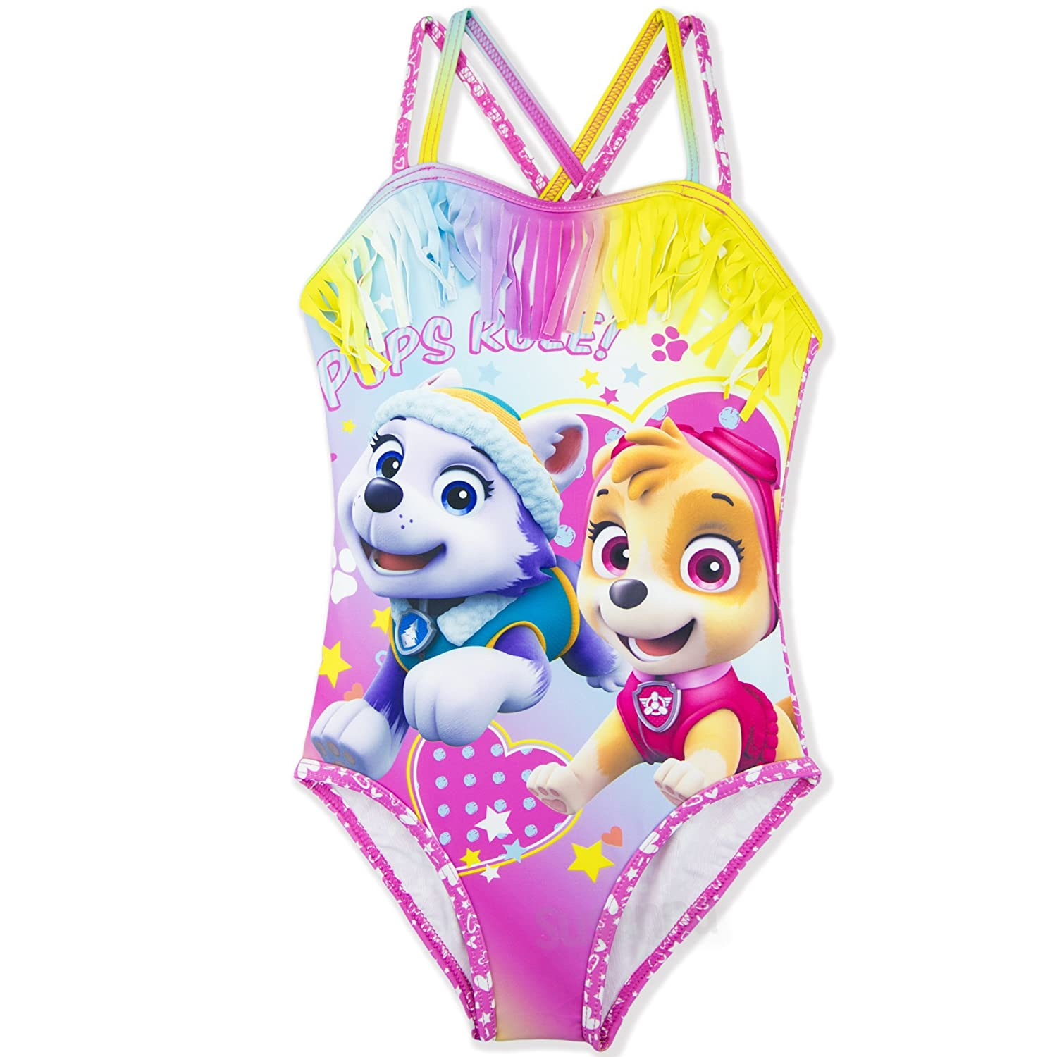 Paw Patrol Nickelodeon Official One Piece Girls Swimsuit Swimming Costume 3-8 Years - New 2018