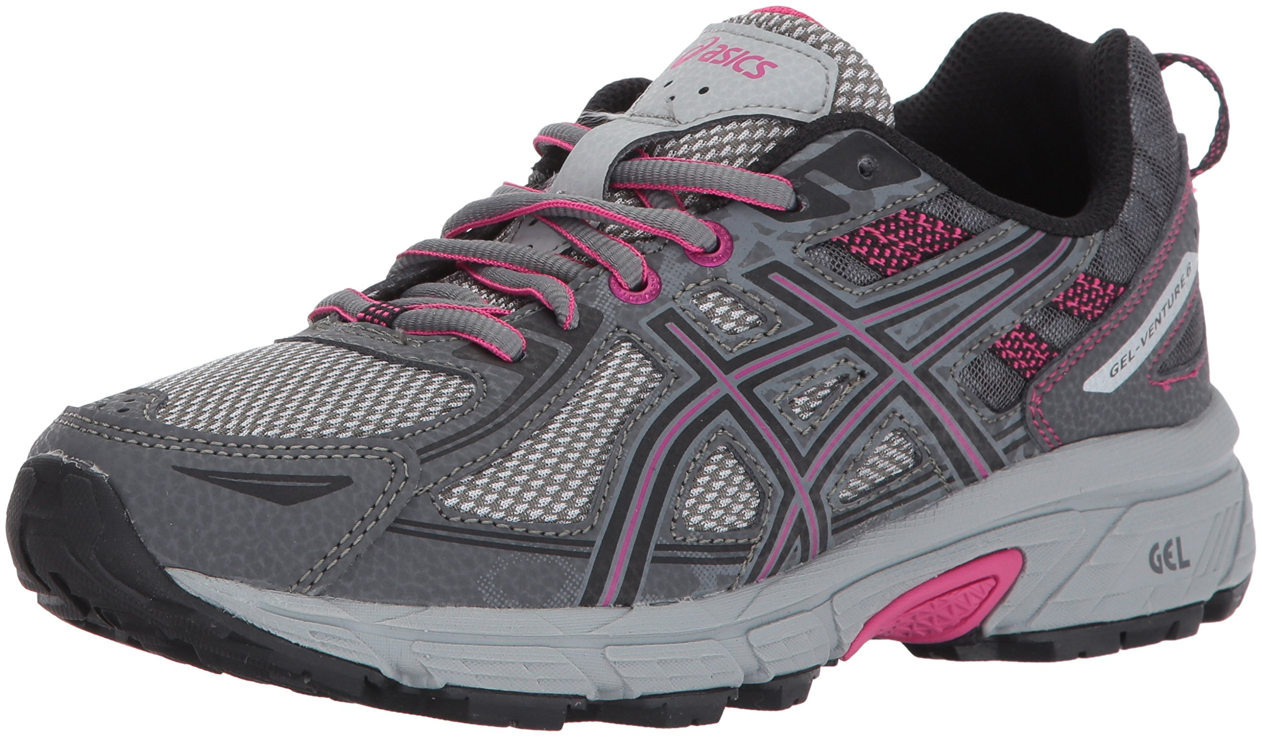 ASICS Women's Gel-Venture 6 Running-Shoes,Carbon/Black/Pink Peacock,5 D US