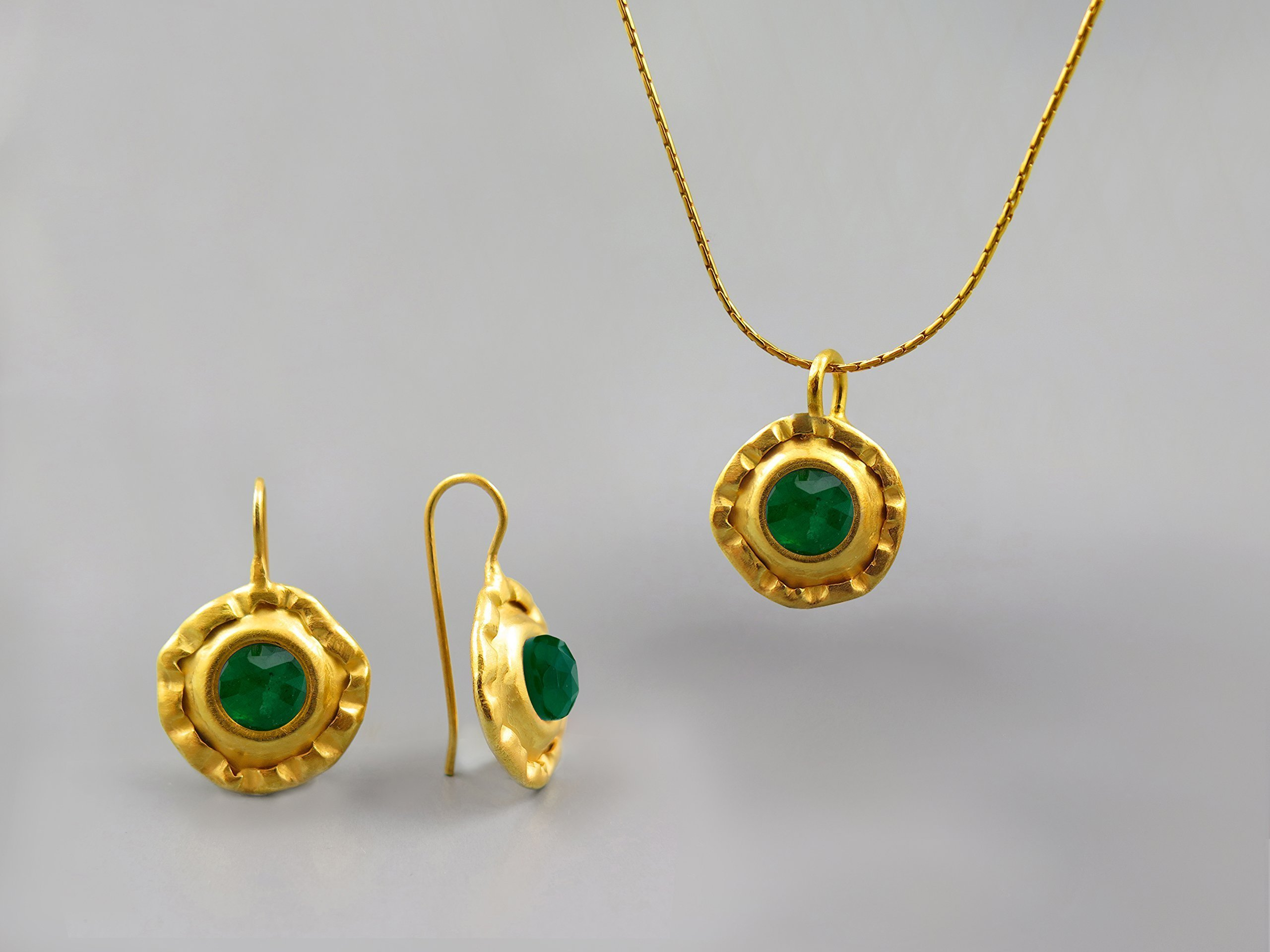 Elegant Green Emerald Precious Gemstones Jewelry Set For Women 24K 18K 14K Gold Plated May Birthstone Jewelry Emerald Necklace Pendant Earring Set Gift for Women Genuine Stone Jewelry Custom Jewelry by Chen Fuchs Jewelry