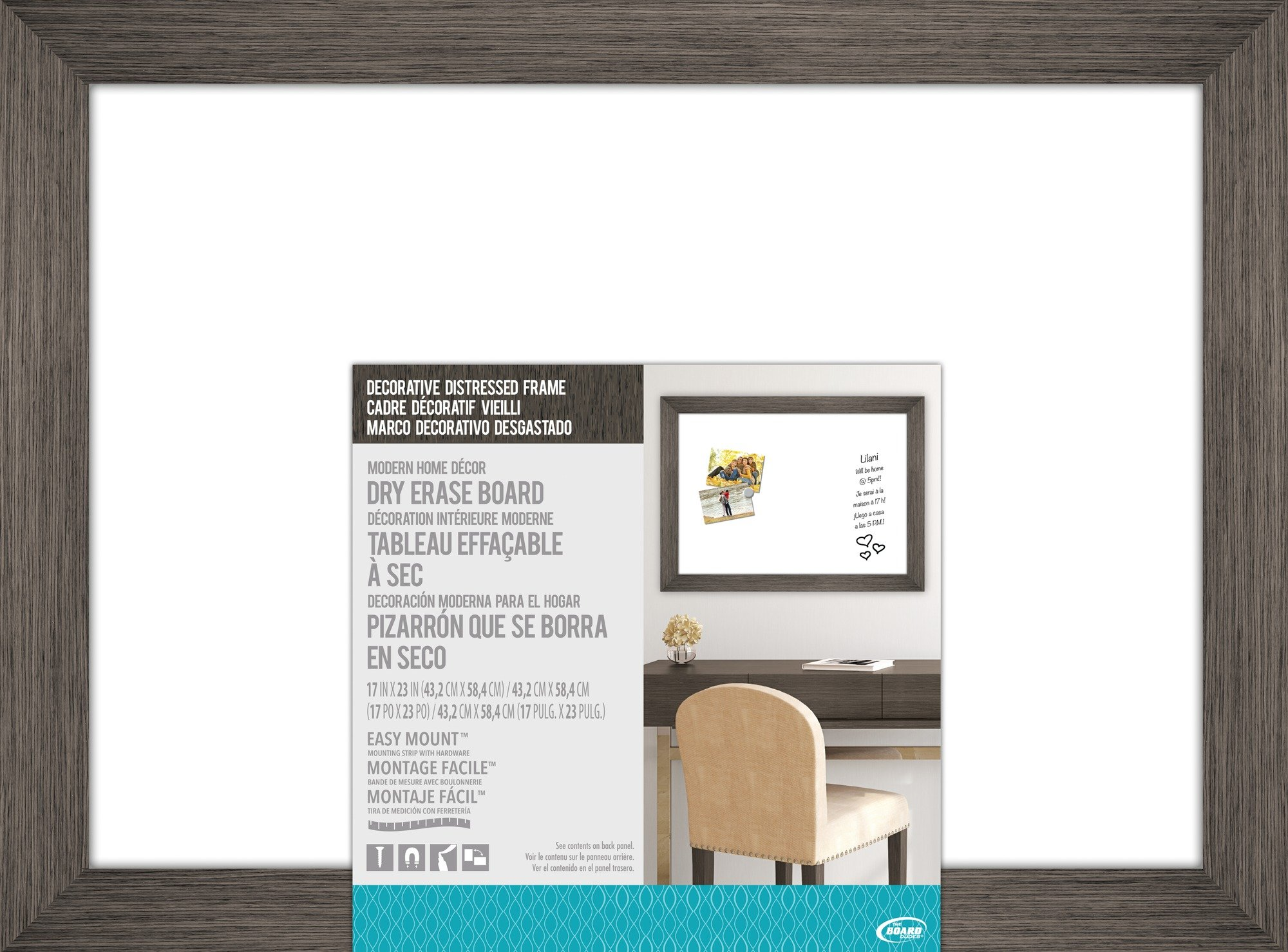 The Board Dudes 17″X 23″ Dry Erase Board with Decorative Distressed Wood Frame