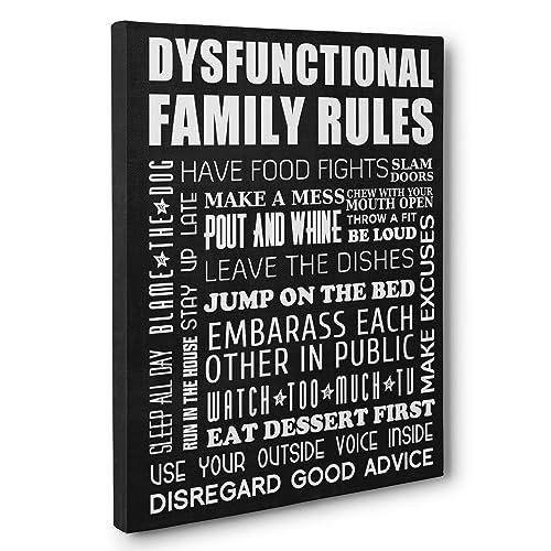 DysFUNctional Family Rules Home Décor CANVAS Wall Art