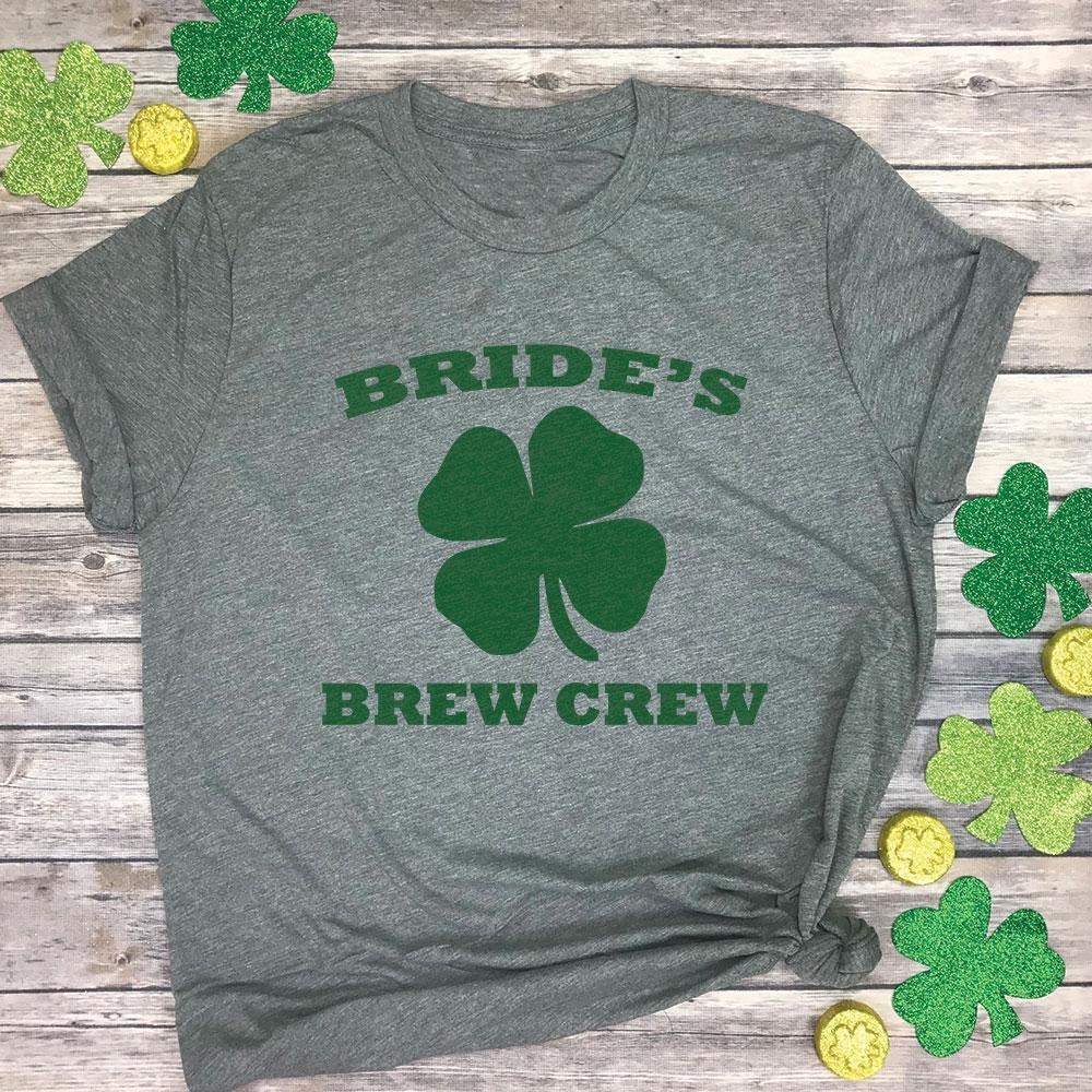 4144fd3d7 Bride's Brew Crew St Patricks Day Bachelorette Premium Unisex Tee Shirt at Amazon  Women's Clothing store: