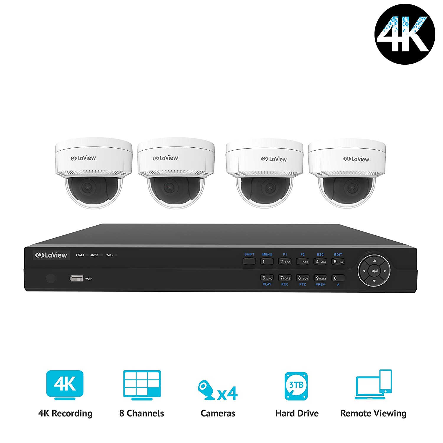 8 Channel PoE 4K NVR Security Camera System Pre-Installed 4TB Hard Drive LV-KNY48E84D404-T4 100ft Night Vision LaView 4-Megapixel 4 4MP Dome IP Surveillance Cameras 2688 x 1520