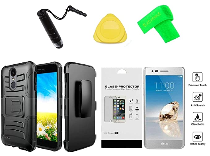 detailed look 8131a 02fc0 for LG Rebel 4 LML212VL / LML211BL Holster Clip + Hybrid Cover Phone Case +  Tempered Glass + Extreme Band + Stylus Pen + Pry Tool (Black)