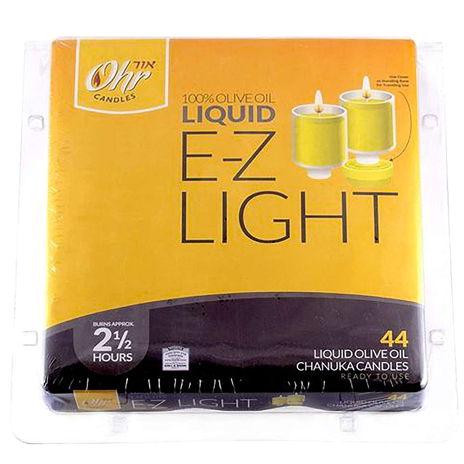 Natural Colour 44 Kosher Olive Oil Hanukkah Candles in Fireproof Cups Natural