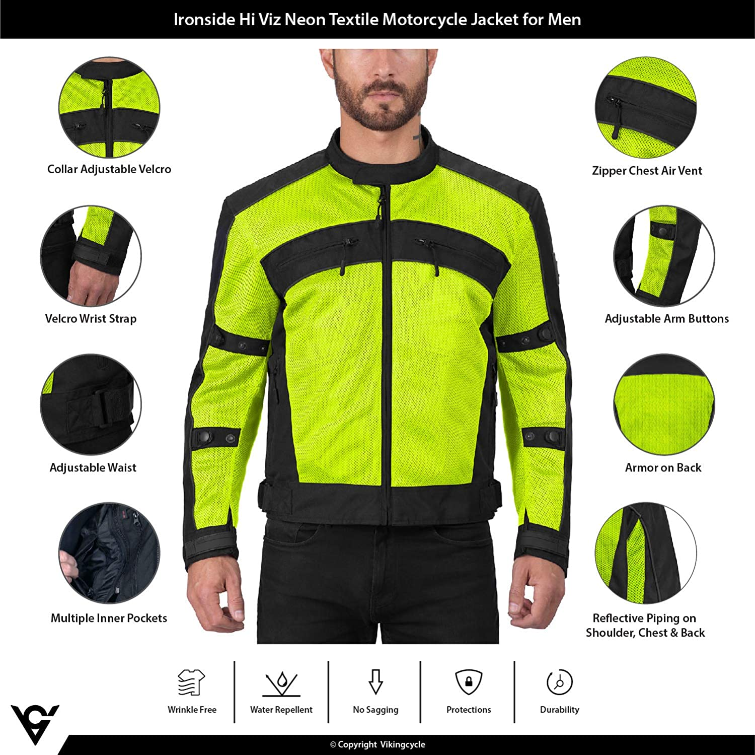 Viking Cycle Ironside Textile Mesh Motorcycle Jacket for Men Adjustable CE Approved Breathable Armor for Bikers