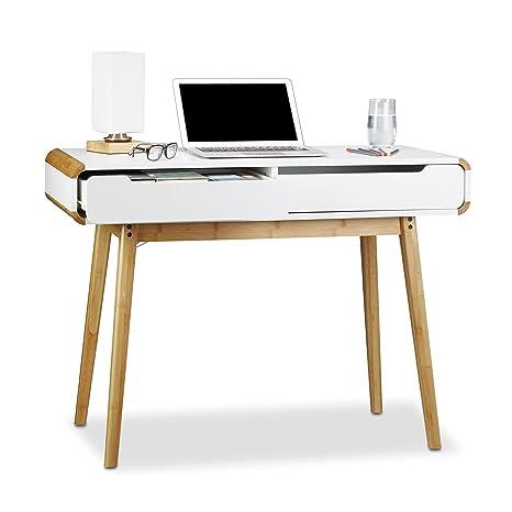 Relaxdays Scrivania con cassetti, Design Nordico, Ideale Come ...