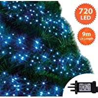 Blue Cluster and Bright White Tree Lights