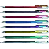 Pentel Hybrid Dual Metallic Sparkling Gel Ink Pens Assorted Colors - Pack 8