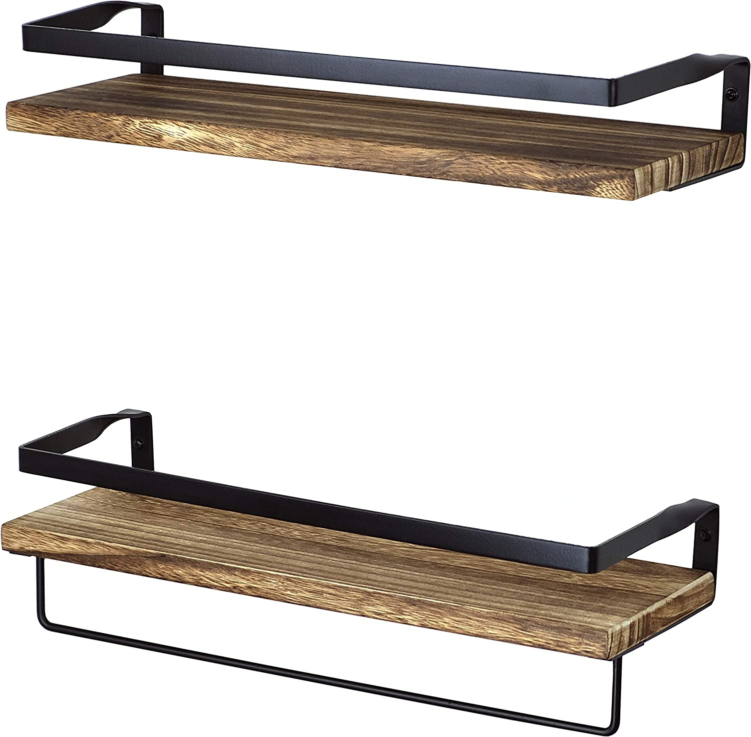 PETER'S GOODS Rustic Floating Wall Shelves with Rails - Decorative Storage for Kitchen, Bathroom, and Bedroom - Elegant, Modern Shelving - Torched Paulownia Wood, Matte Black Metal Frame - Set of 2