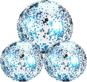 Hsei 3 Pieces Inflatable Beach Ball Glitter Beach Ball Floatable Confetti Ball for Summer Beach, Pool and Party Favor