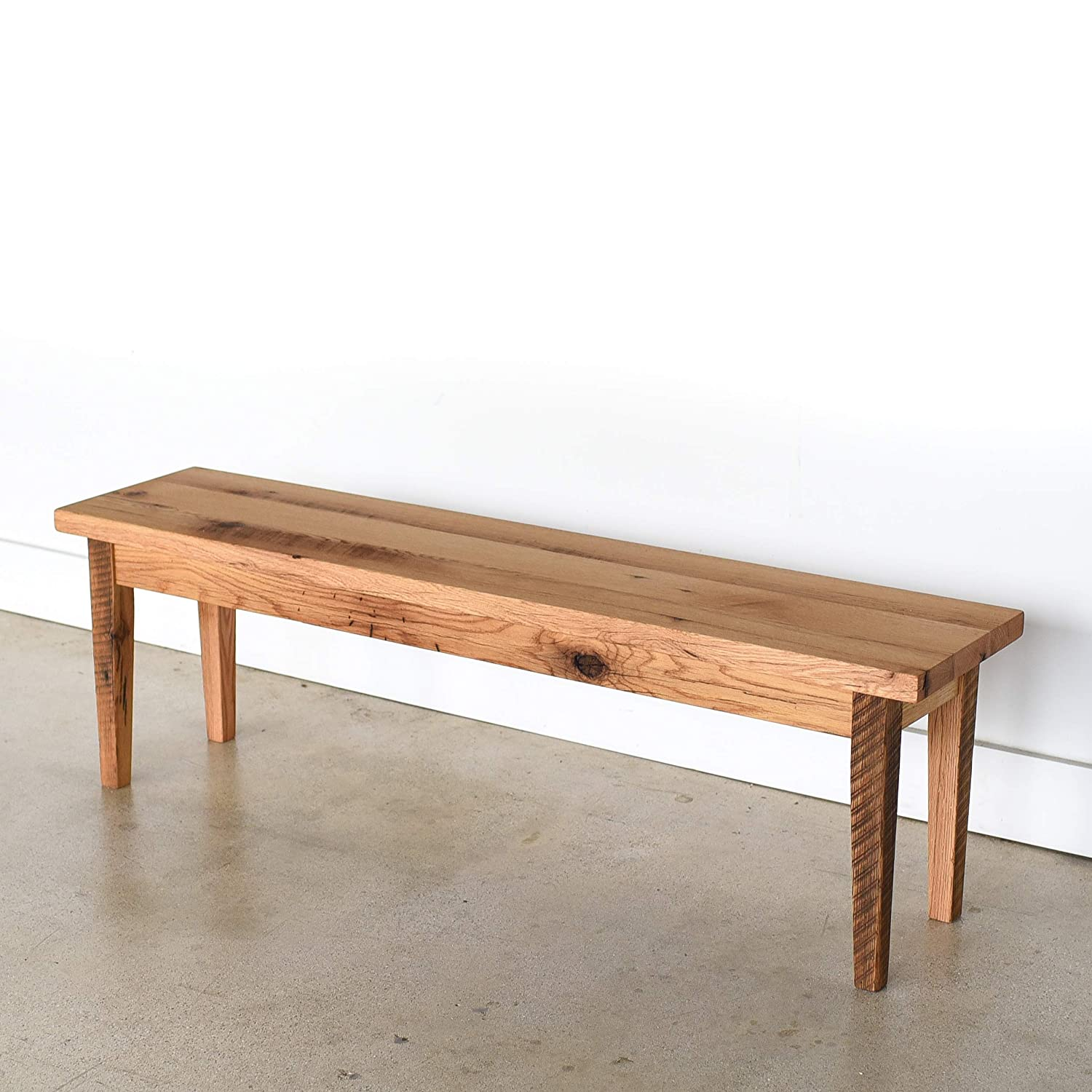 Awesome Amazon Com Reclaimed Wood Plank Bench With Tapered Legs Dailytribune Chair Design For Home Dailytribuneorg