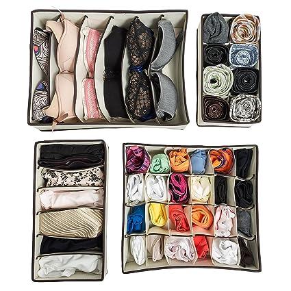 Organizzare Cassetti Biancheria.Tatkraft Neat Set Di 4 Box Organizzatori Per Biancheria Intima Da Mettere All Interno Dei Cassetti Scatole Per Riporre Calzini Reggiseni Cravatte