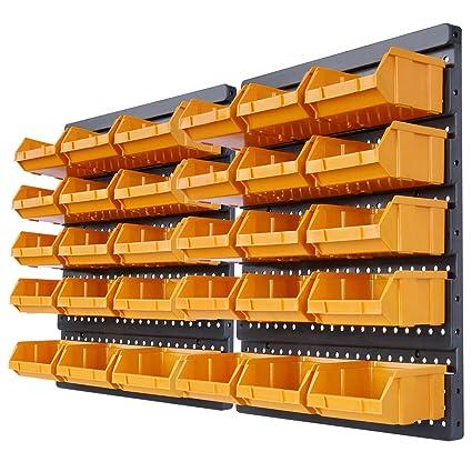 Jago Estantería de pared con 30 archivadores en color naranja (para guardar tornillos, clavos