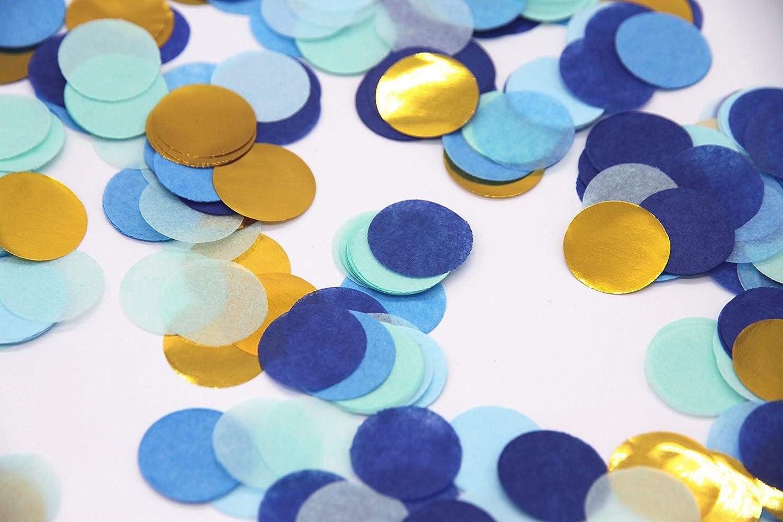 Regendeko Lot de 1000 confettis de d/écoration de f/ête danniversaire Bleu dor/é