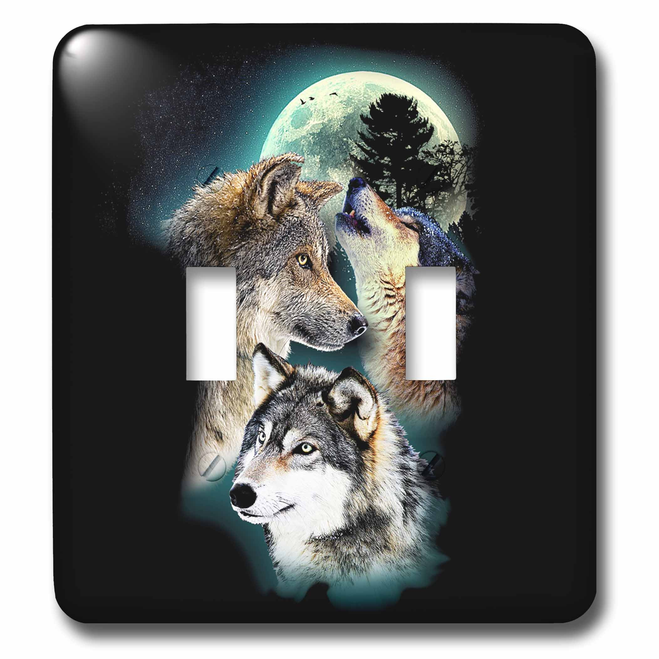 3dRose Sven Herkenrath Animal - Three Beautiful Wolfs in front of the Moon on Black Background - Light Switch Covers - double toggle switch (lsp_281692_2)