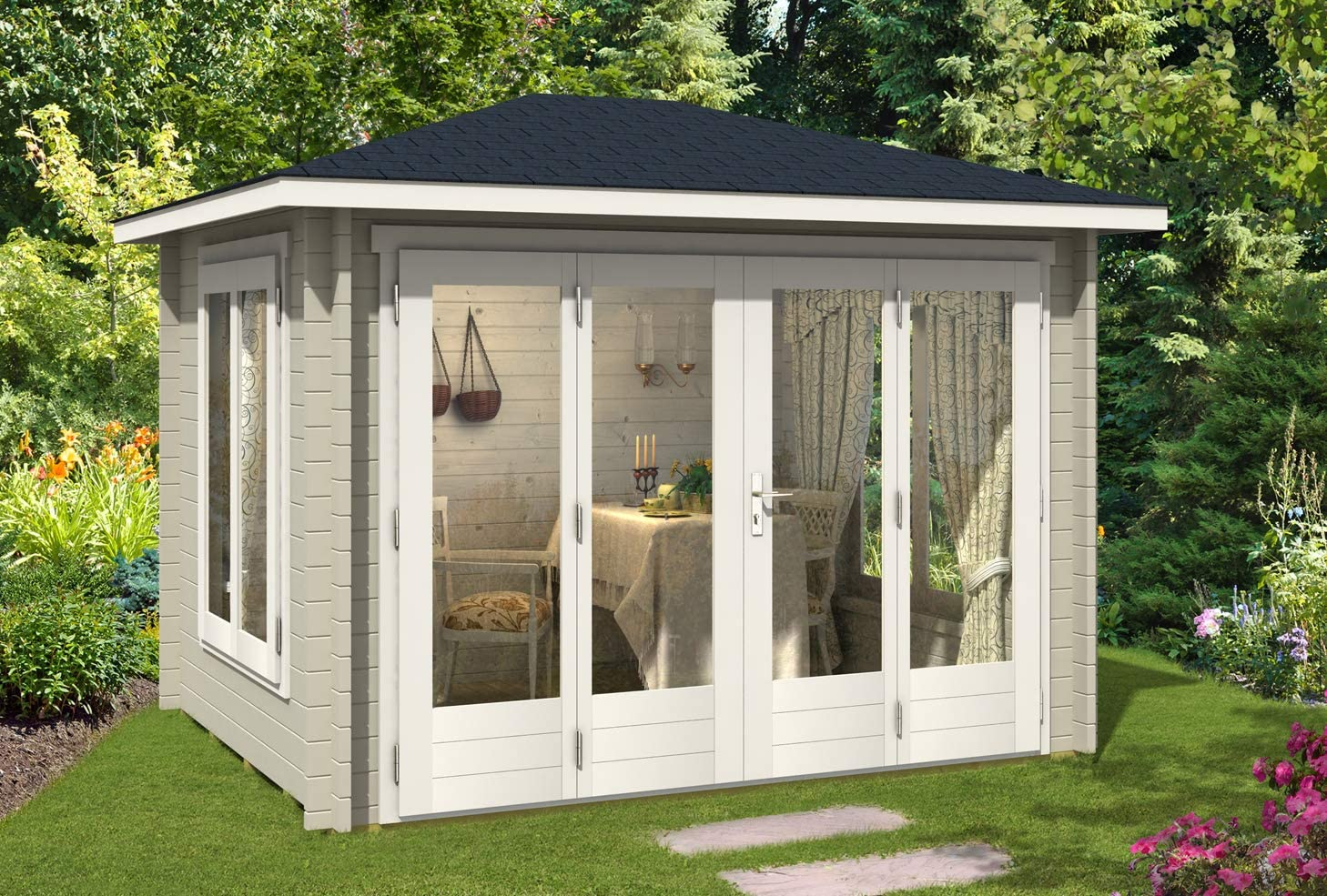 CARLSSON Summertime-40 - Caseta de jardín con Gran Puerta Plegable ...