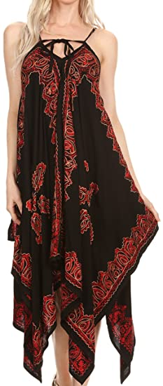 daef5b61fc9 Sakkas 17801 - Arminat Batik Print Adjustable Strap Embroidered Handkerchief  Hem Dress - Black Red