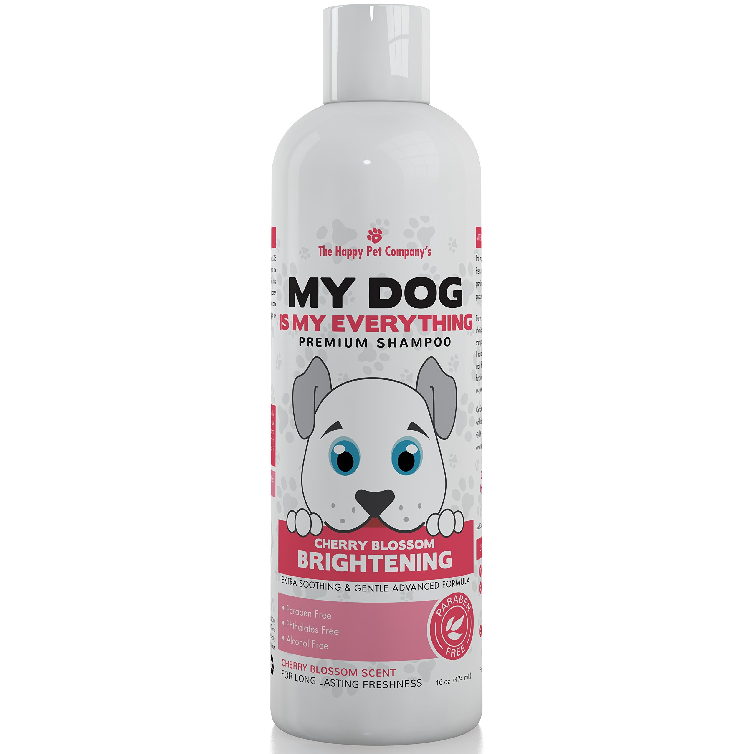 The Happy Pet Company 100% Hypoallergenic Cherry Blossom White Brightening Premium Shampoo - Extra Soothing & Gentle Advanced Formula