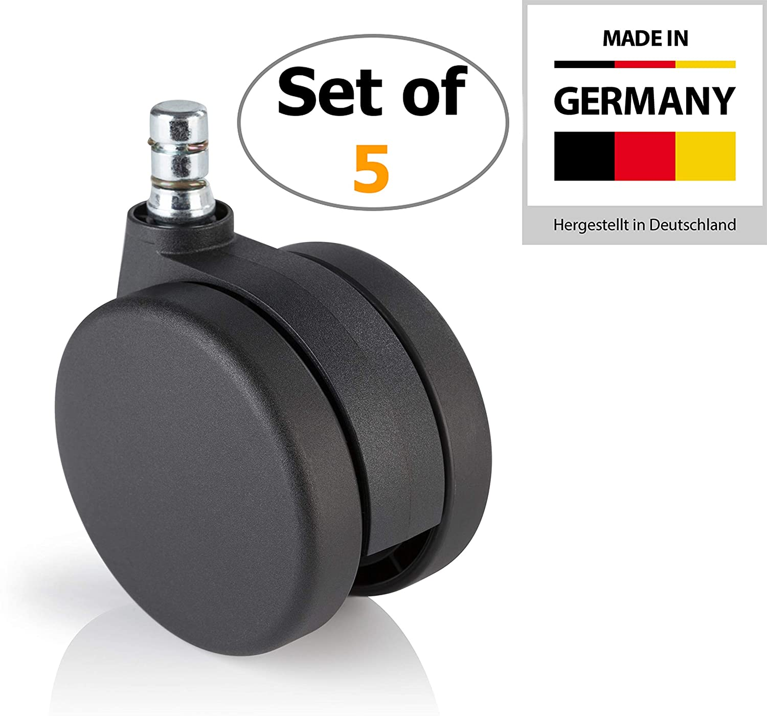 hjh OFFICE 3 inch Office Chair Caster Wheels 7/16 inch Stem Diameter (Set of 5) Casters for Carpet Floors