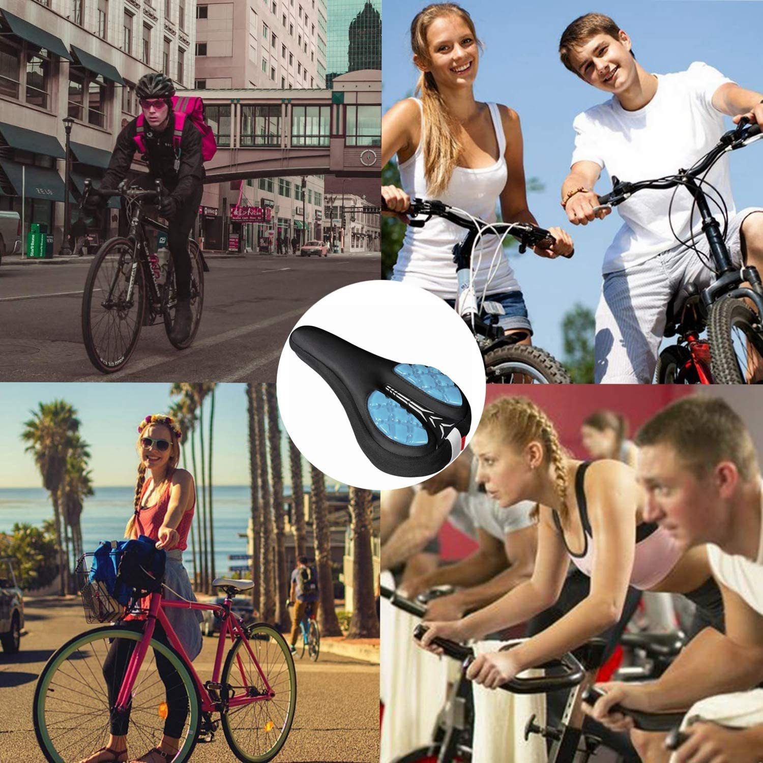 Black Gym or Toddler Bike Mountain Road Miniues Gel Bike Seat Cover Universal Soft Silicone Cushion Comfortable Bicycle Saddle Replacement for Exercise
