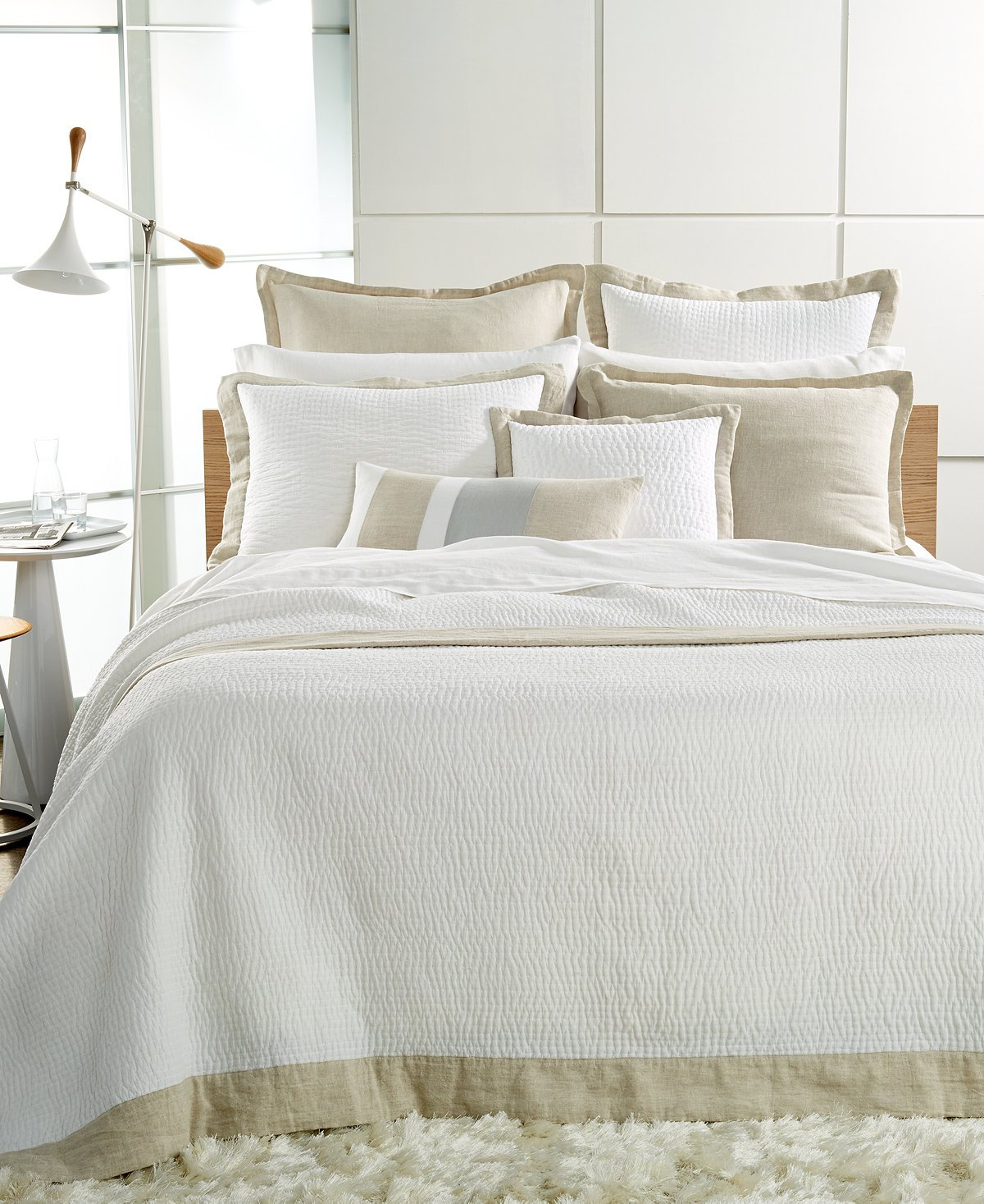 Hotel Collection Voile Linen Natural White Quilted Full Queen Coverlet