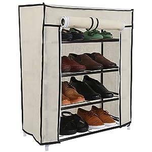 Karmax Shoe Cabinet with 4 Shelves (Beige)