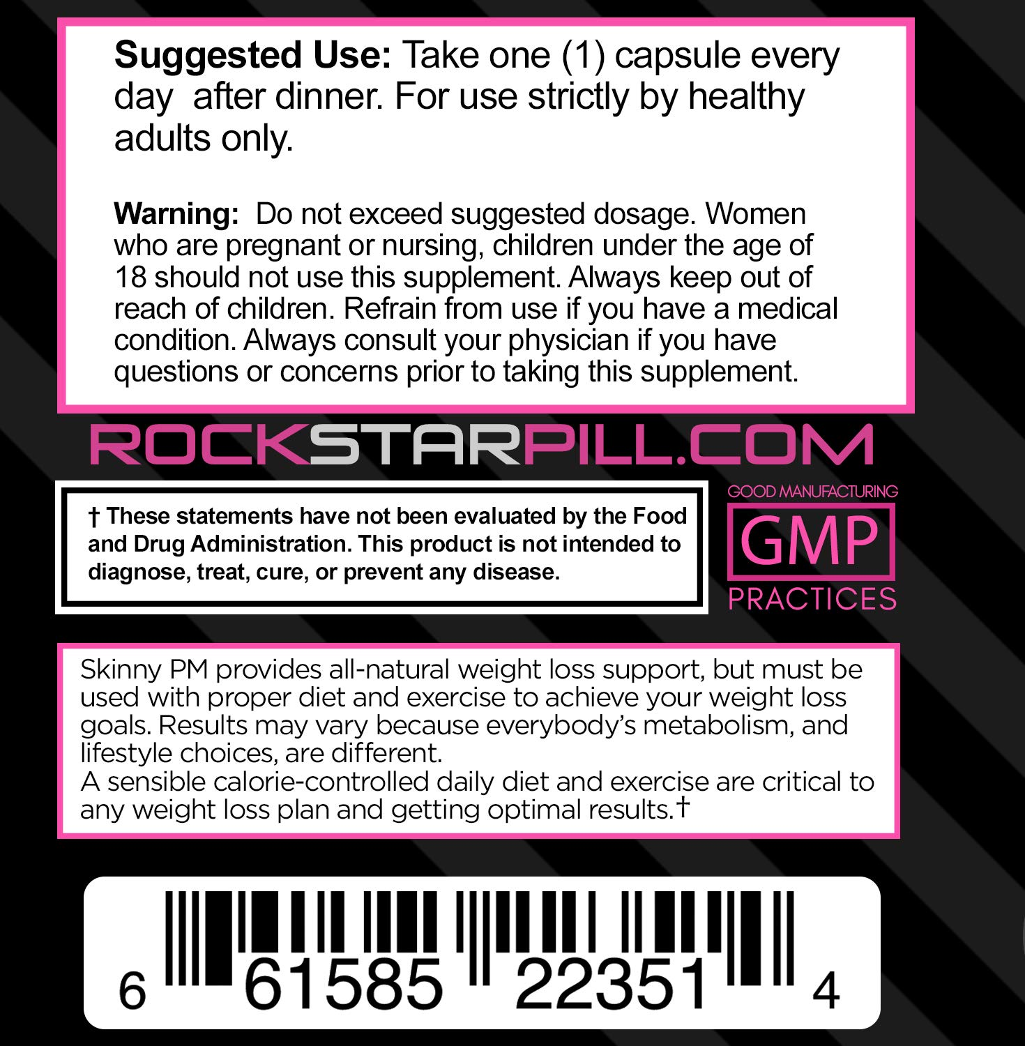 Rockstar Skinny PM Diet Pill for Women, Thermogenic Hyper-Metabolizer, Nighttime Non-Stimulant Weight Loss Pills for Women, 60 Veggie Caps by Rockstar