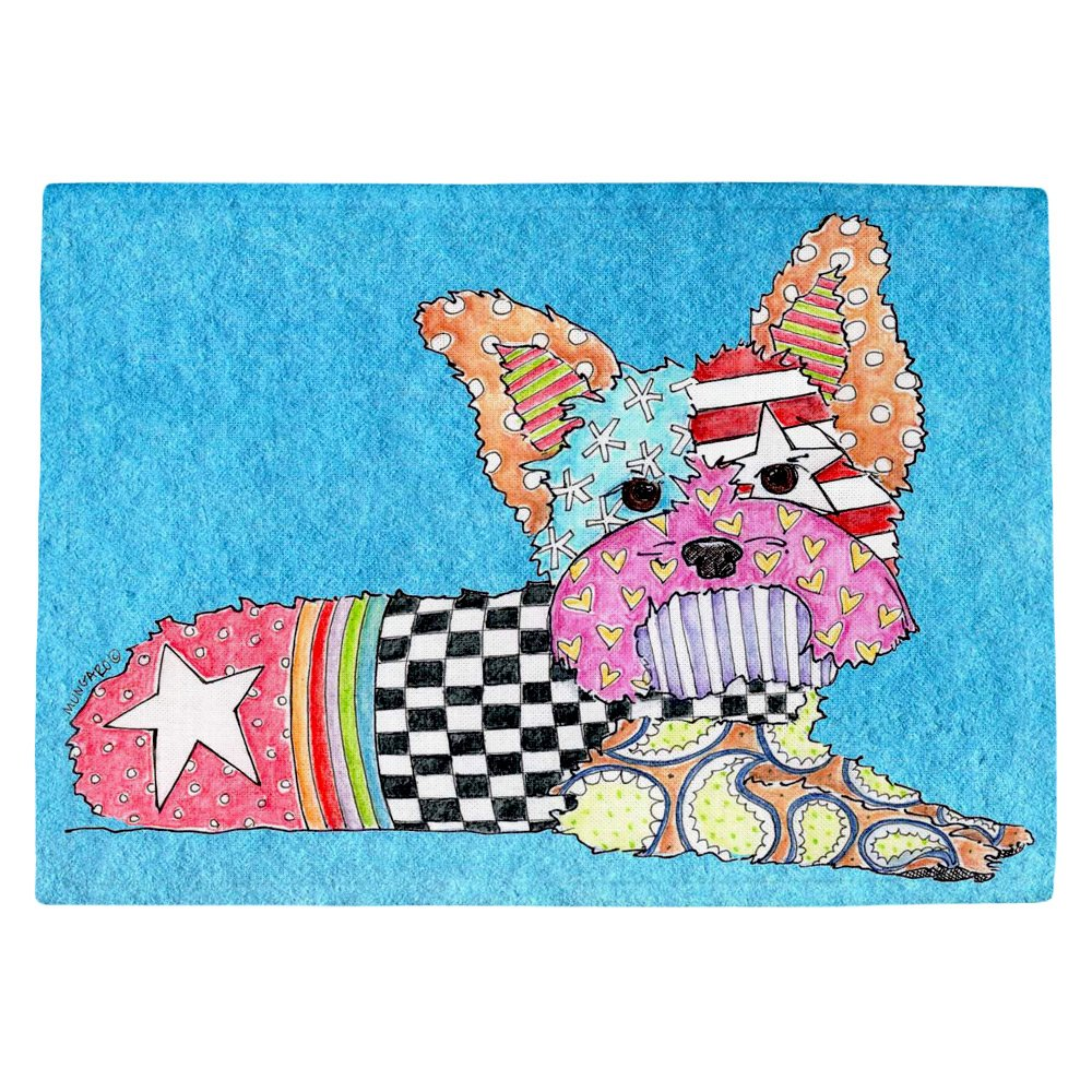 DIANOCHEキッチンPlaceマットby Marley Ungaro Yorkie犬Aqua Set of 4 Placemats PM-MarleyUngaroYorkieAqua2 Set of 4 Placemats  B01EXSGVB6