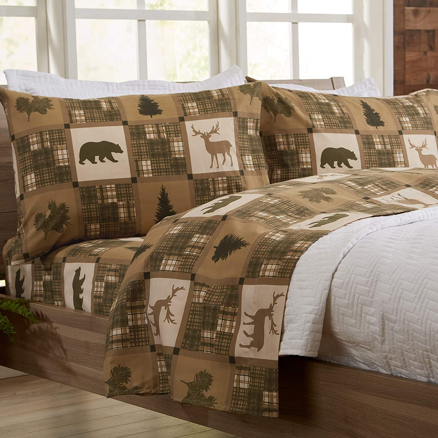 Great Bay Home 4-Piece Lodge Printed Ultra-Soft Microfiber Sheet Set. Beautiful Patterns Drawn from Nature, Comfortable, All-Season Bed Sheets. (Queen, Stonehurst)