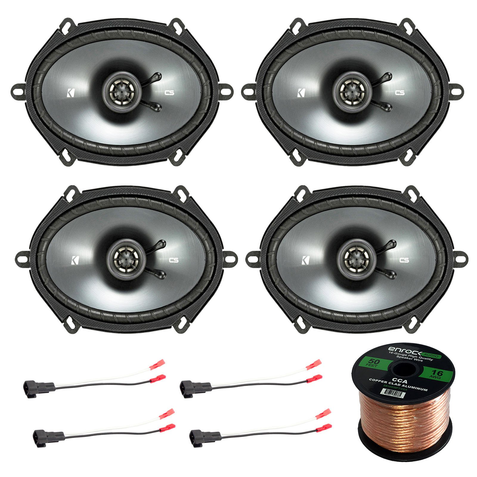 Car Speaker Set Combo Of 4 Kicker 40CS684 6x8'' Inch 450W 2-Way Car Coaxial Stereo Speakers + 4 Metra 72-5600 Speaker Connector for Ford, Lincoln, Mazda, Mercury, + Enrock 50ft 16g Speaker Wire by Enrock Kicker Metra