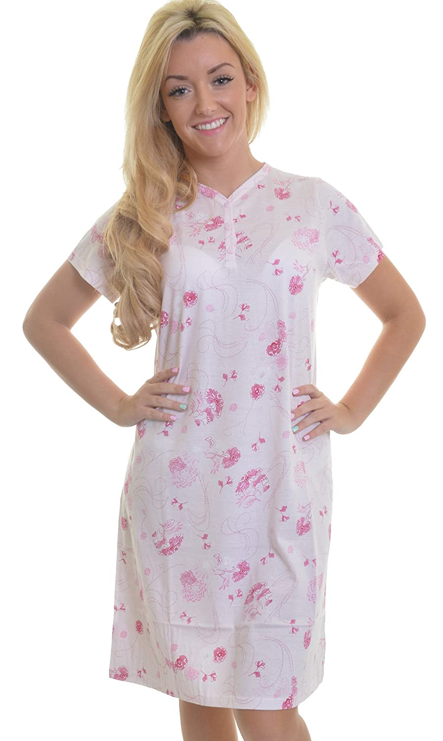 3492d9db00 Slenderella Ladies 100% Cotton Short Sleeved V Neck Nightdress with Pretty  Flower and Swirl Detail