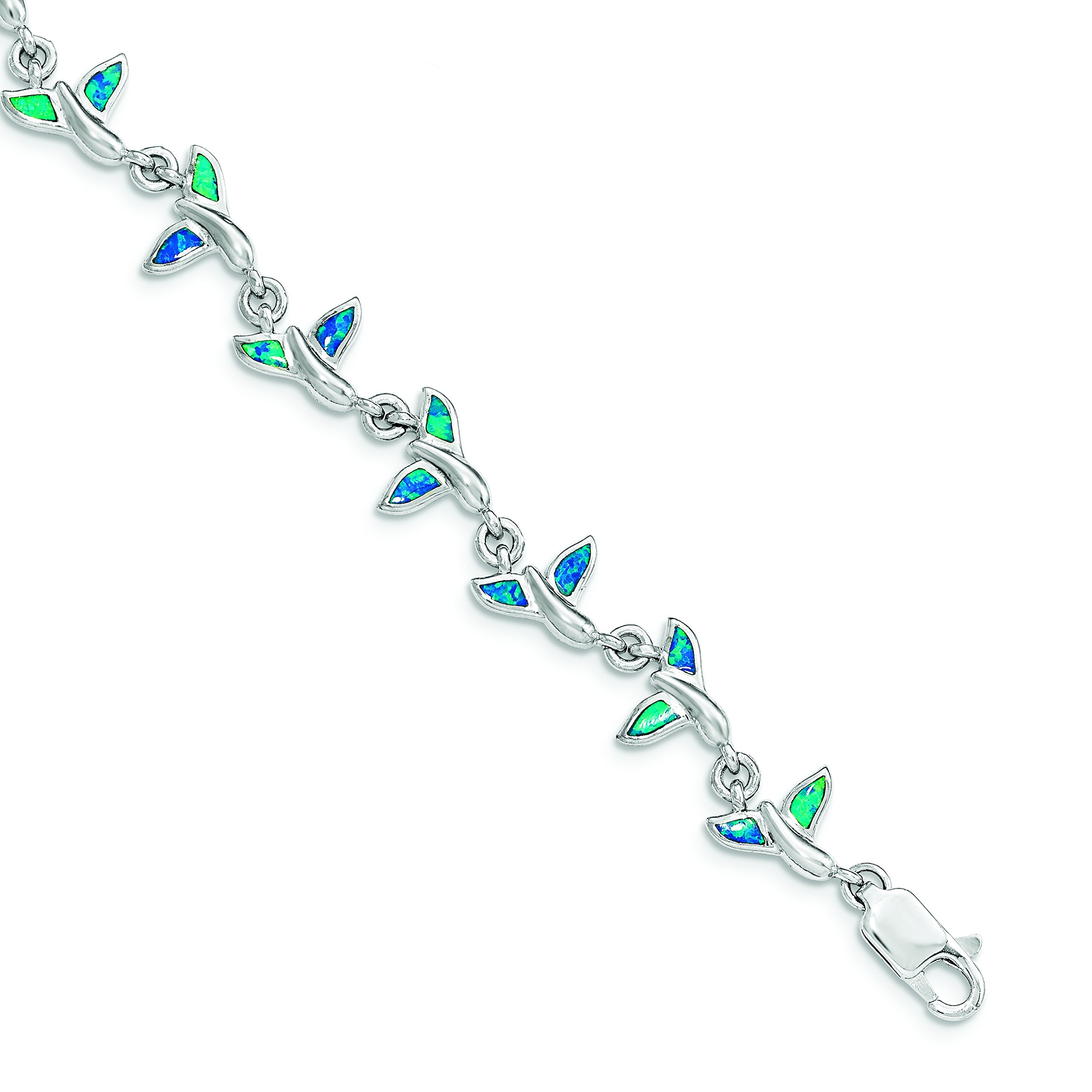 ICE CARATS 925 Sterling Silver Whale Tail 7.75in Bracelet 7.75 Inch Animal Fine Jewelry Gift For Women Heart