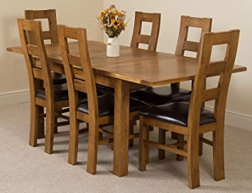 Astounding Modern Furniture Direct Cotswold Rustic Extending Solid Oak Dining Table 6 Solid Rustic Oak Chairs 100 Solid Oak 132 165 198Cm Extending Fast Interior Design Ideas Clesiryabchikinfo