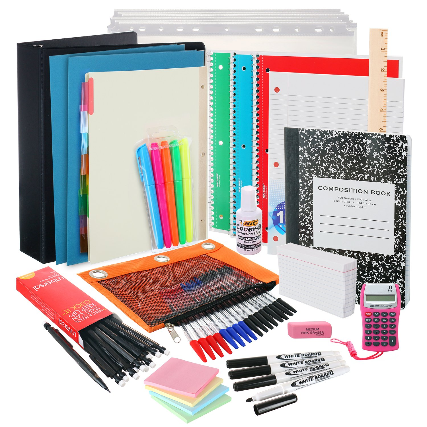 Back to School Supplies Kit for College Students: The Complete Classroom Supply Bundle - Set of 20 College School Essentials - College Ruled Paper, Pens, Pencils, Notebooks & More Stuff