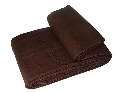 EliteHomeCollection Indian Classic - Colcha para sofá o cama de matrimonio (250 x 250 cm, incluye 2 fundas para cojín), color marrón
