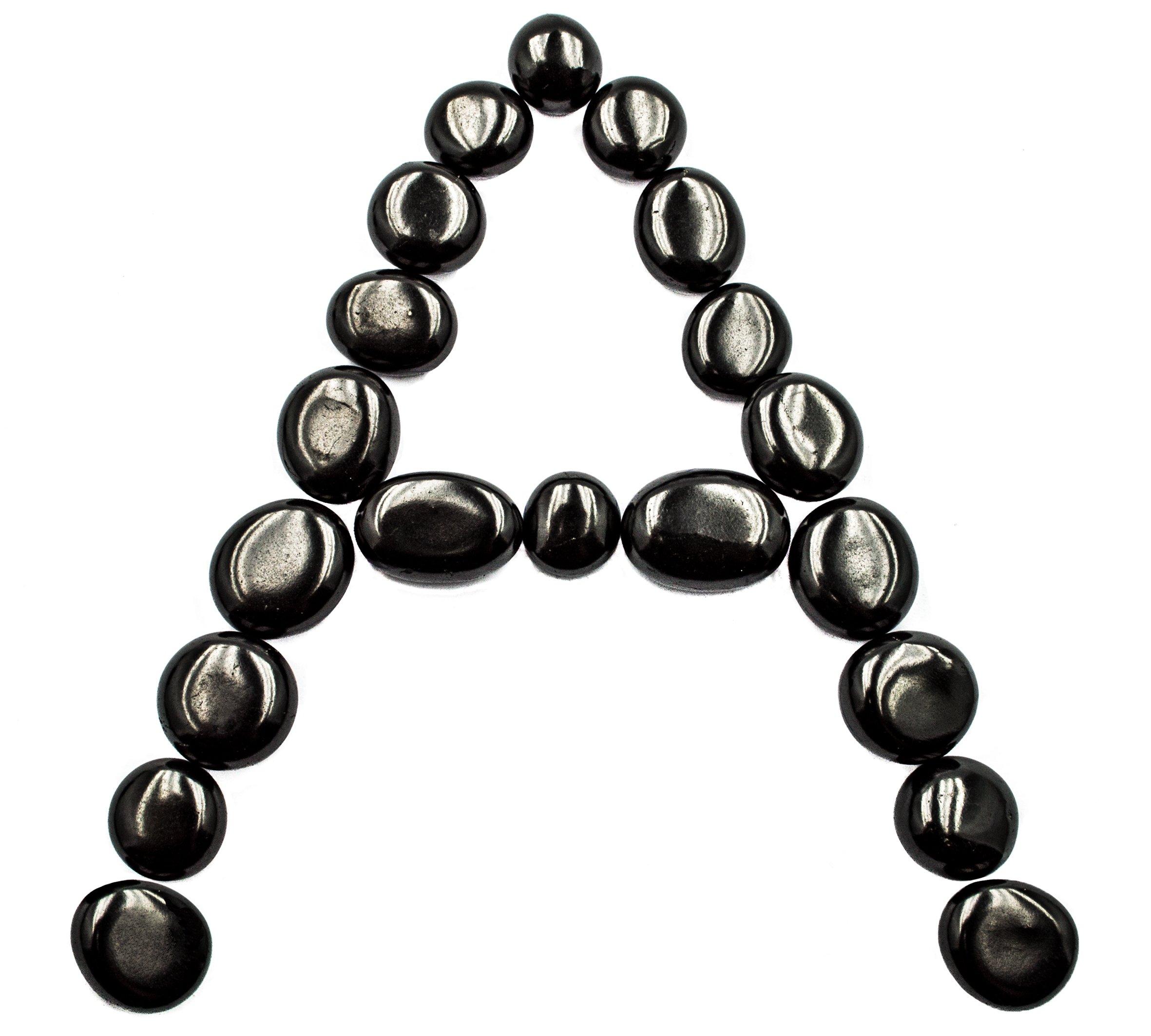 Wallystone Gems 20 pcs Total 100-110 Gram AAA Grade Premium Tumbled Shungite Stones - Ideal Rounded Oval Shape