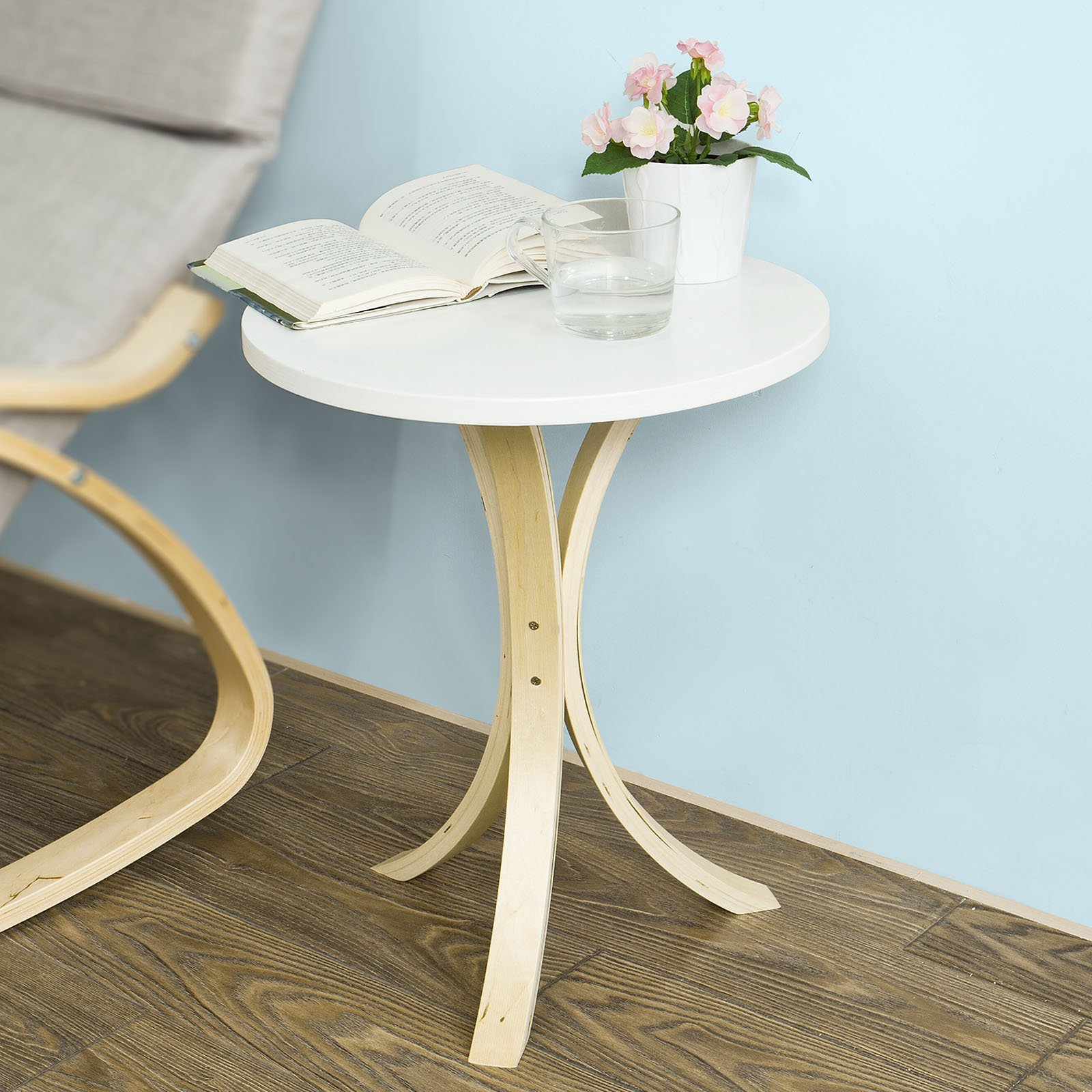 SoBuy Round Wooden Side Table, Tea Coffee Table, Telephone Table, FBT29-W
