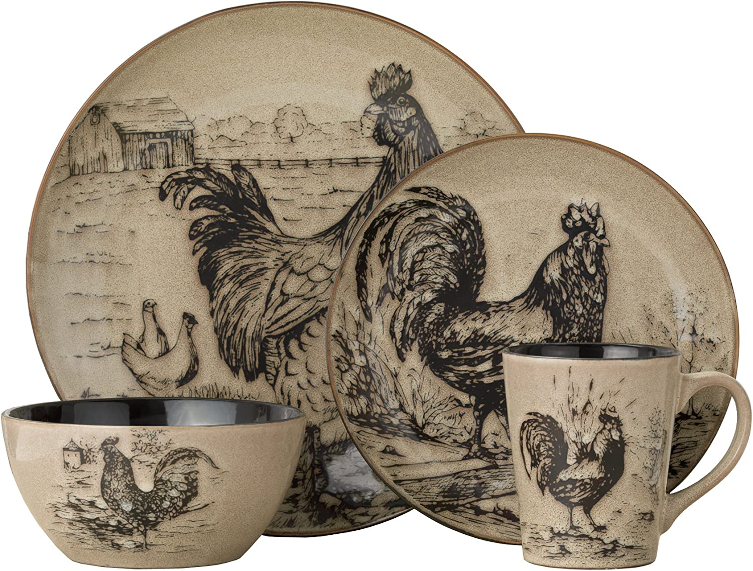 Pfaltzgraff Homespun Rooster 16-Piece Dinnerware Set, Service for 4