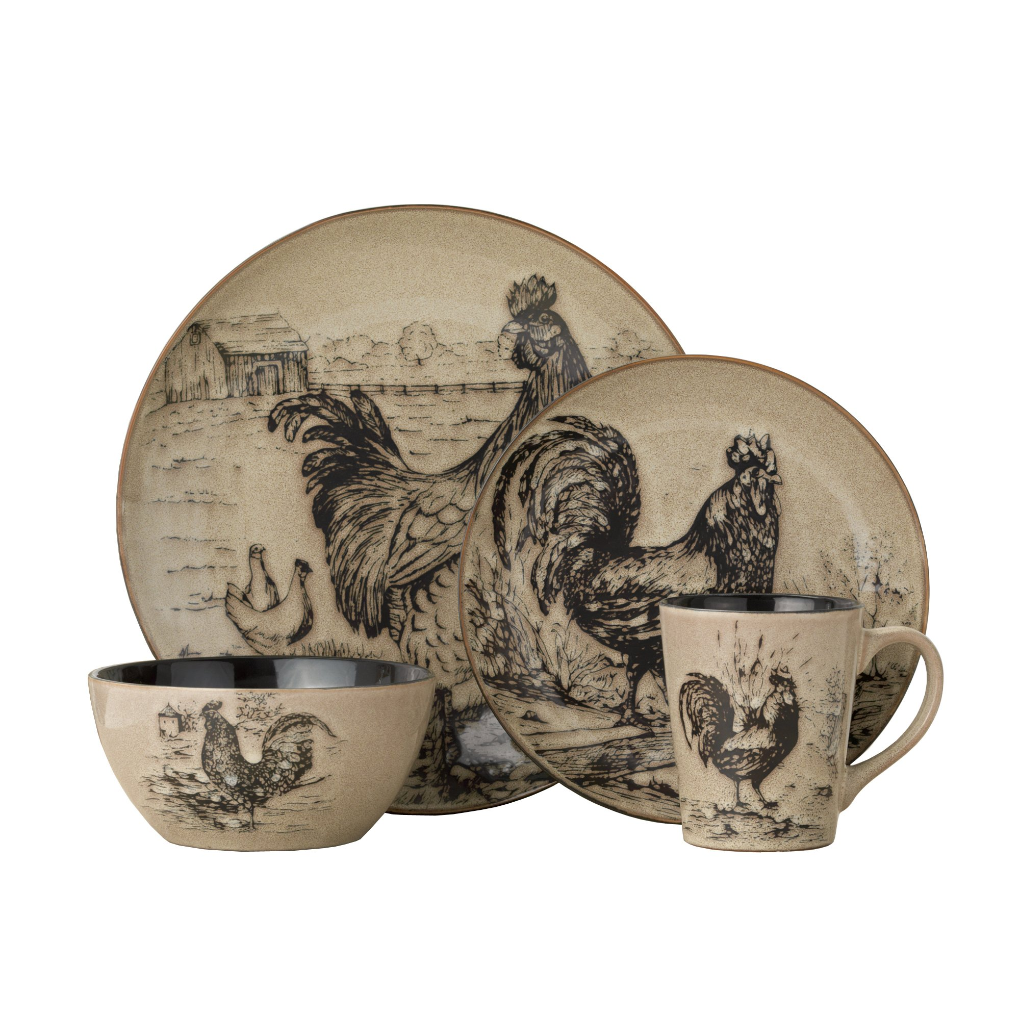 Pfaltzgraff Homespun Rooster 16-Piece Dinnerware Set, Service for 4 by Pfaltzgraff