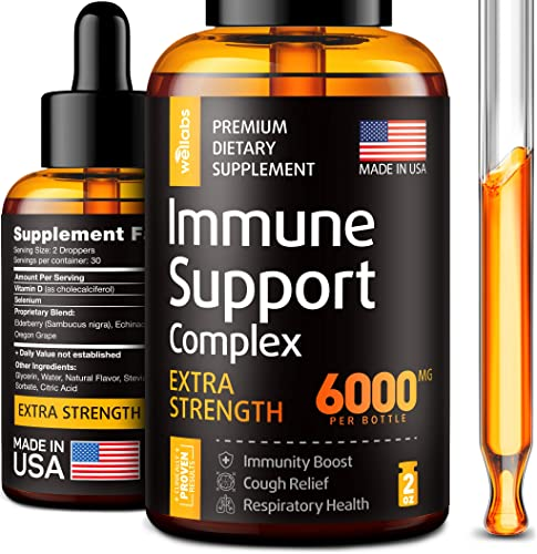 Immune Support Drops – Immune Booster with Echinacea, Selenium Elderberry – Made in USA – Organic Vitamin C with Pure Selenium Supplement – Nature Made Vitamin C D – Sambucus Elderberry Extract