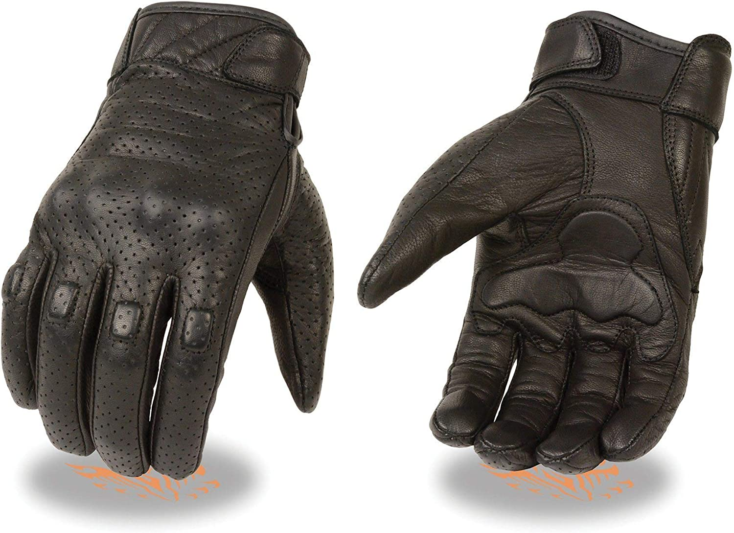 Milwaukee Leather MG7500 Men's Black Perforated Leather Gloves with Rubberized Knuckles - 3X-Large