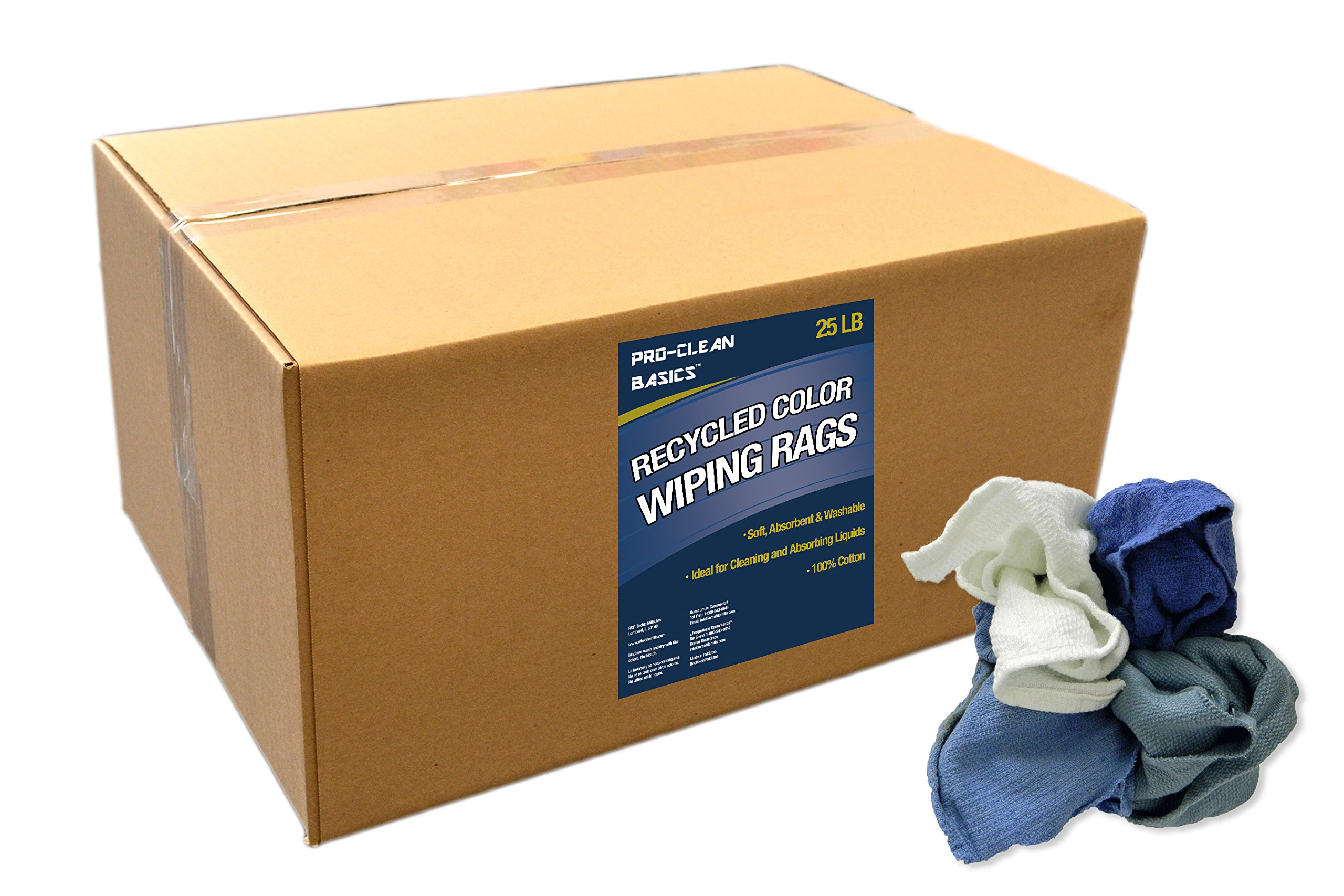 Pro-Clean Basics 99601 Recycled Color Woven Wiping Rags, 25 lb. Box