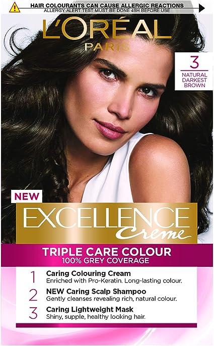LOreal Paris Excellence - Tinte para cabello (3 unidades), color marrón oscuro