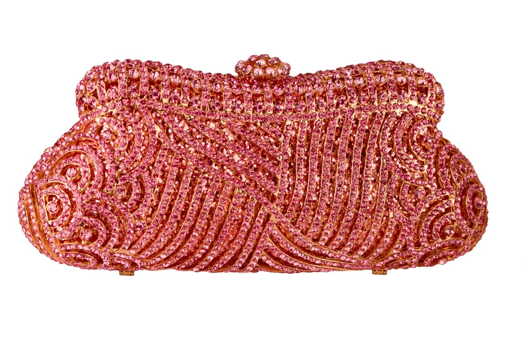 Crystal Bridal Clutch Formal Evening Bag Pink Gold & Silver Compact Mirror Wedding Party Gift Set