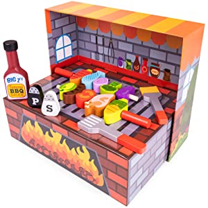 Imagination Generation Grill N' Fill BBQ Barbecue Playset | Reversible Meat, Fish, and Veggies Reveal Grill Marks! | Portable Pretend Play, Travels Anywhere | Little Grillmaster Cooking Toy