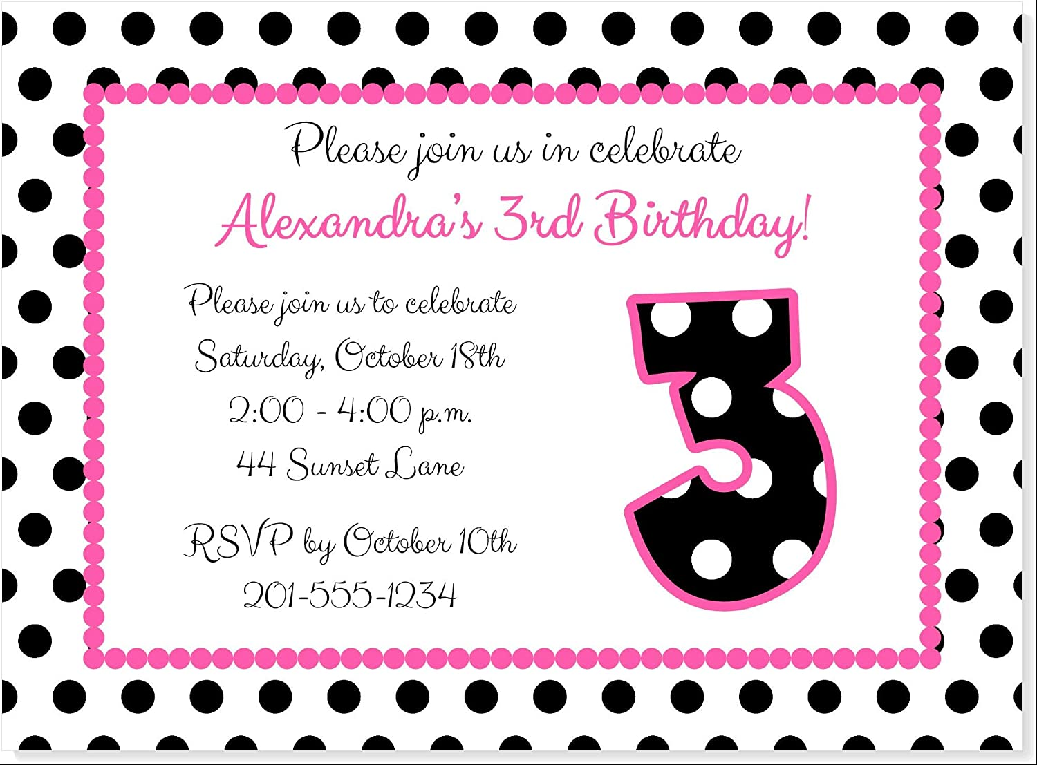 FIRST SECOND ANY AGE 10 PRETTY PINK GIRLS BIRTHDAY INVITATIONS PERSONALISED