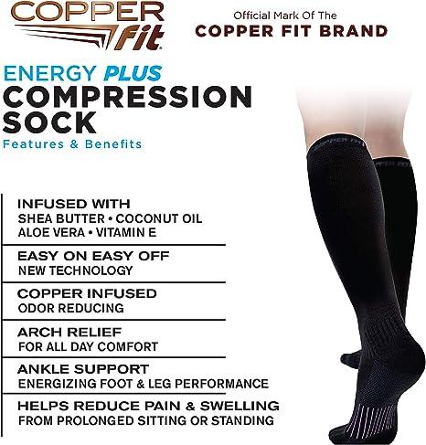 Copper Fit womens Energy Moisturizing Knee High Compression Socks