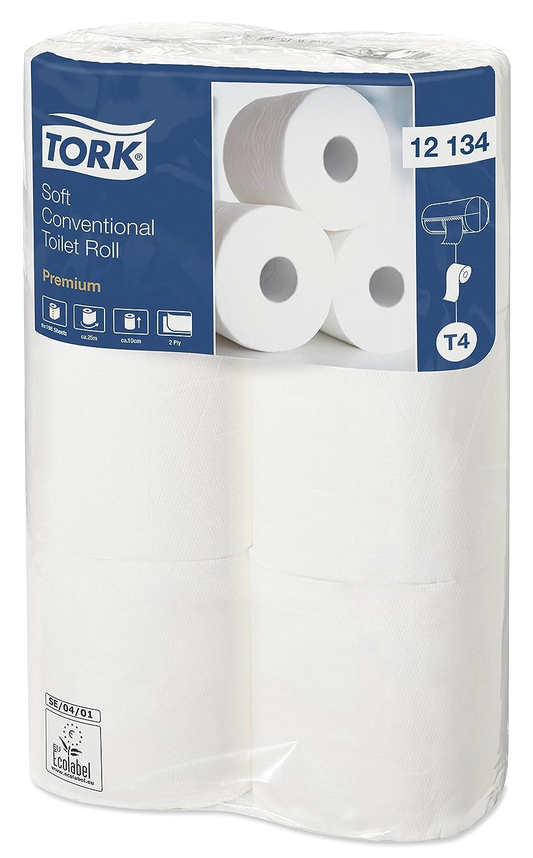 Tork 12134 Rollos de papel higiénico Premium compatibles con el sistema higiénico de rollos pequeños Tork T4, 16 paquetes x 6 rollos (6 x 198 hojas): ...