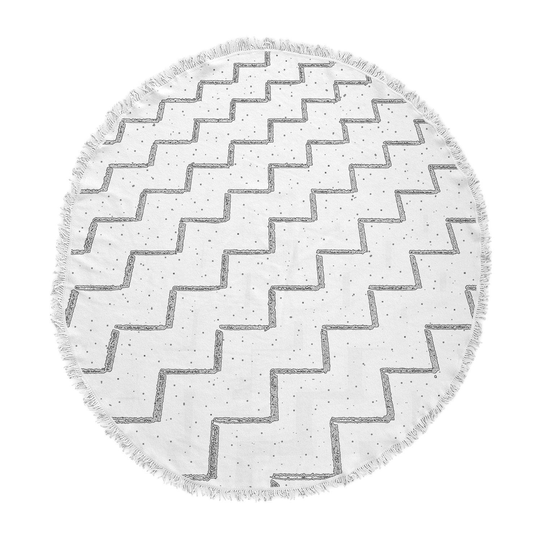 Kess InHouse Richard Casillas Speckled Zigzag White Gray Round Beach Towel Blanket